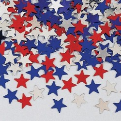 Konfetti Stjärna röd/blå/silver