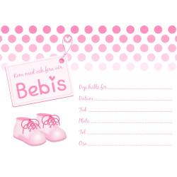 Inbjudningskort Baby Rosa Sv