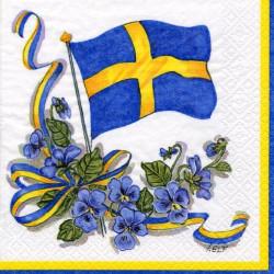 Kaffeservett Flagga och Blomster