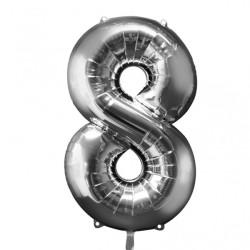 Folieballong 8 silver