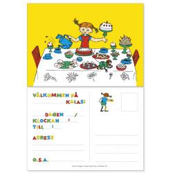 Pippi Långstrump Inbjudningskort