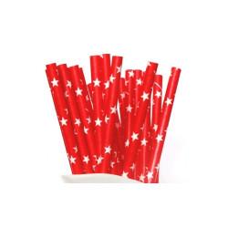 Papperssugrör Röd med stjärnor