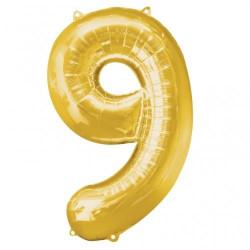 Folieballong 9 guld