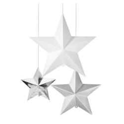 3D Stjärnor Silver/Vitt