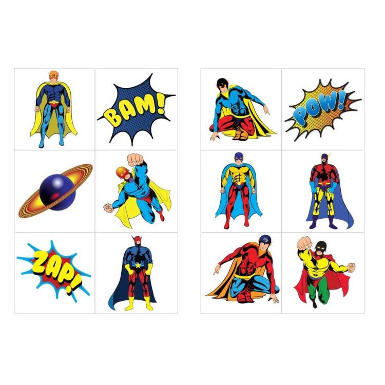 Tatuering Superhjältar 6-pack