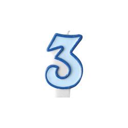 Tårtljus Ljusblå 3