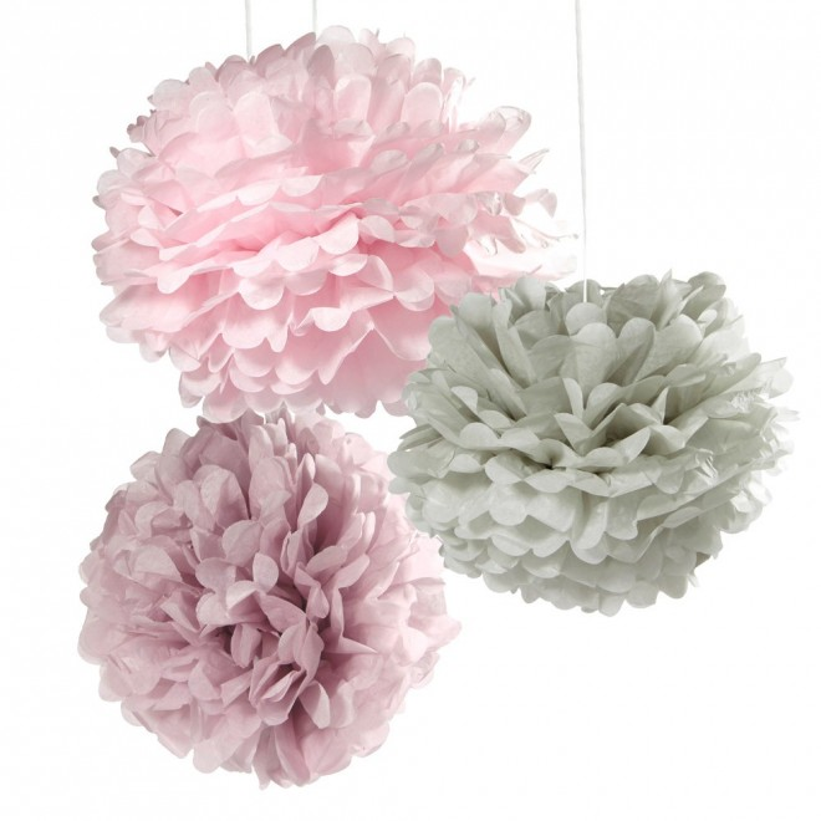 Dekorationsbollar Grå/Lila/rosa