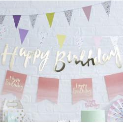 Girlang Happy Birthday Guld
