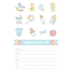 Inbjudningskort Baby Icons