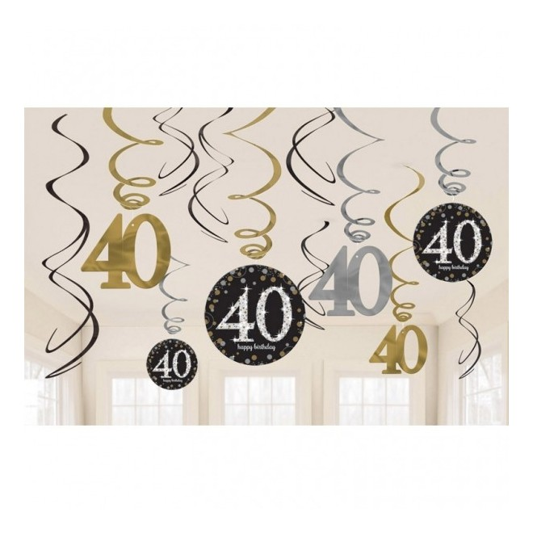 40 års fest dekorationer Köp Swirl Dekoration 40 år hos Partytajm 40 års fest dekorationer