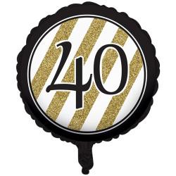 Folieballong Black & Gold 40 år