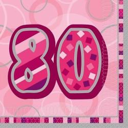 Servetter Pink Glitz 80 år