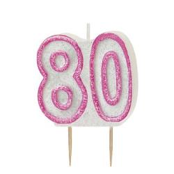 Tårtljus Rosa 80 år