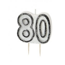 Tårtljus Svart 80 år