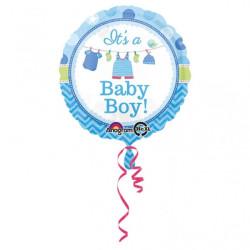 Baby Blå Klädlina Folieballong
