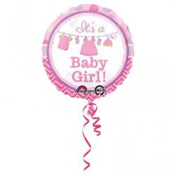First Birthday Folieballong Rosa