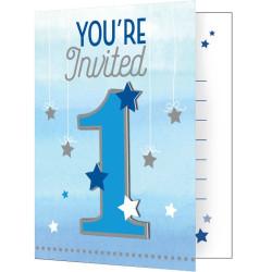 Little Blue Star 1 år Inbjudningskort