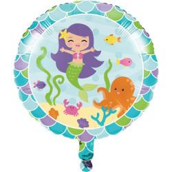 Folieballong Sjöjungfru Rund