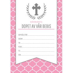 Inbjudningkort Dop Rosa Kors