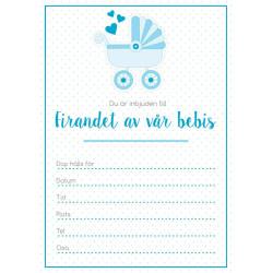 Inbjudningskort Bebis Ljusblå