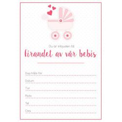 Inbjudningskort Bebis Rosa