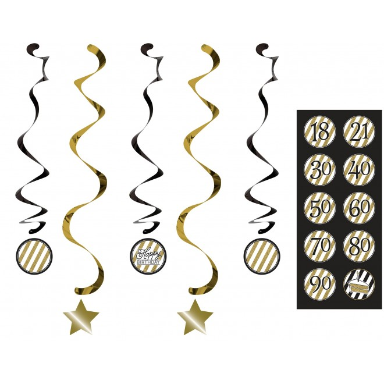 Girlanger Gold & Black med stickers