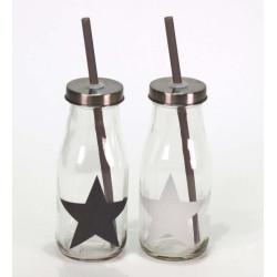 Glasflaska Star med sugrör