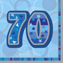 Blue Glitz 70 år Servetter