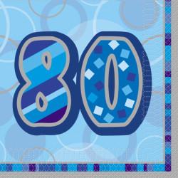 Blue Glitz 80 år Servetter