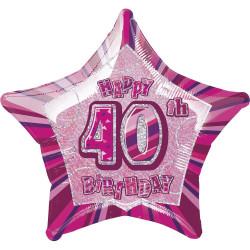 Folieballong 40 år Rosa