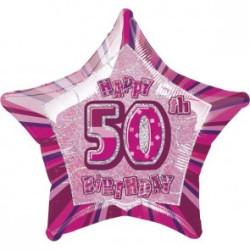 Folieballong 50 år Rosa