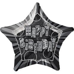 Folieballong Happy Birthday Svart