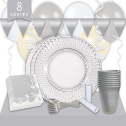 Kalaspaket Silver Porslin Lyx 8 pers