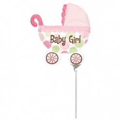 Folieballong Barnvagn Mini Rosa