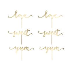 Cupcake Topper Love Guld 6-pack