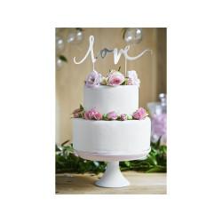 Cake Topper Love Silver