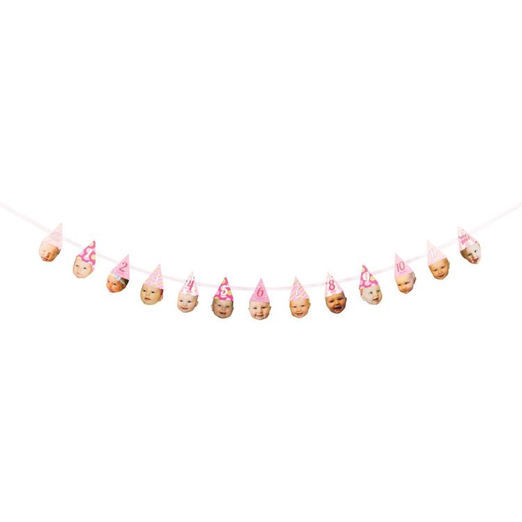 Köp Girlang 1 år med hattar rosa hos Partytajm 84578146c90f2