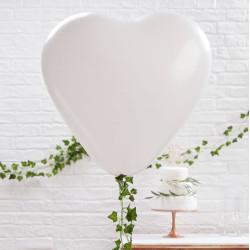 Jätteballonger Vita Hjärtan 3-pack