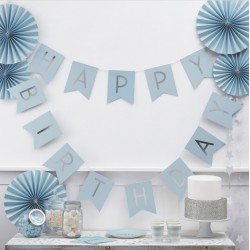 Happy Birthday Girlang Pastellblå