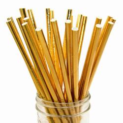 Papperssugrör Metallic Guld