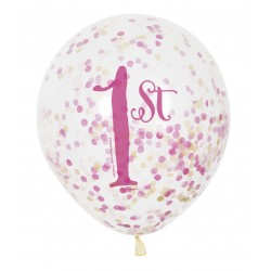 Ballonger 1st Birthday Girl med Konfetti