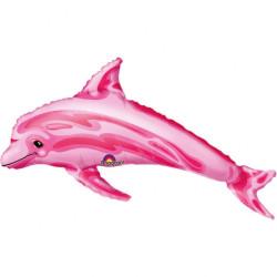 Folieballong Mini-Delfin Rosa