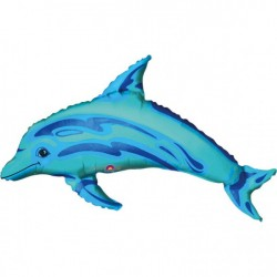 Folieballong Mini-Delfin Blå