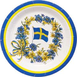 Tallrikar Flagga och Blomster