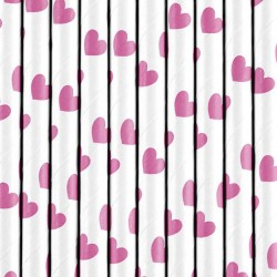Papperssugrör Hot Pink Hjärta