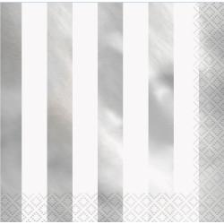 Servetter Randig Silver Foil