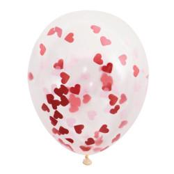 Ballonger Transparent med Hjärtkonfetti