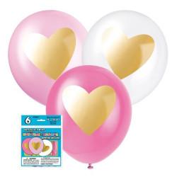 Ballonger Rosamix med Guldhjärtan