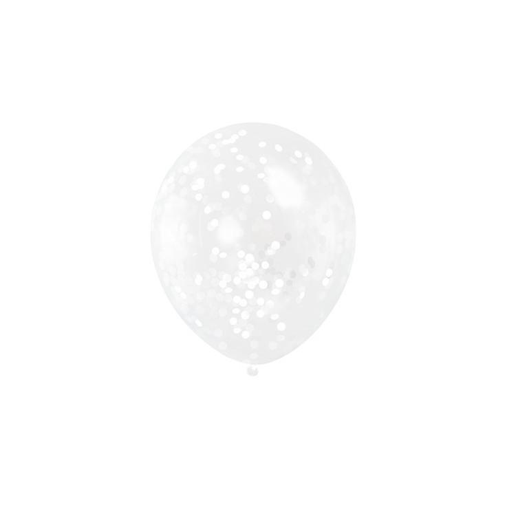 Ballonger med Vit Konfetti