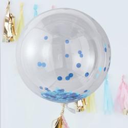 Jätteballonger med Blå Konfetti 3-pack